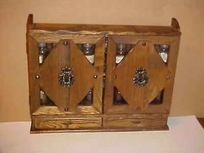 Classic 18 Jar 2 Tier Wooden Spice Rack w Doors and Drawers