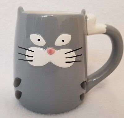 Tag Gray White Cat Mug 3D 15 Ounce Tail Handle Ceramic Black Whiskers