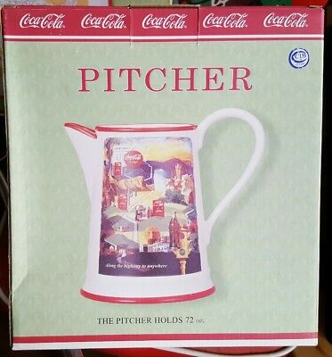 BRAND NEW Coca Cola Along The Highway Platter & Pitcher Set In Boxes Unused MIB