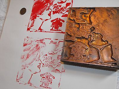 Vintage Metal Wood Ink Printing Plate Clover Brand Shoes Art Deco Lady Rare
