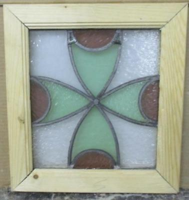 """OLD ENGLISH LEADED STAINED GLASS WINDOW Pretty Abstract Floral 12.5"""" x 13.5"""""""