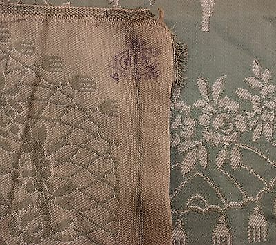 Beautiful Antique Fabric Parisian Silk Green and Ivory Floral Antique Yardage
