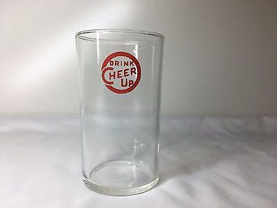 """Vintage DRINK CHEER UP Drinking Glass Lemon Lime Soda Fountain 4"""""""