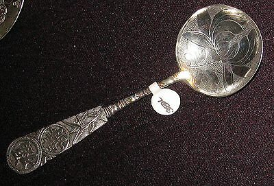 Chinese Sterling Silver Spoon tea Caddy Scoop Lotus flower Japanese good luck 福寿