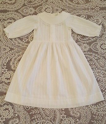 Vintage White Baby Dress Christening Baptism Gown Antique Infant Doll Clothes