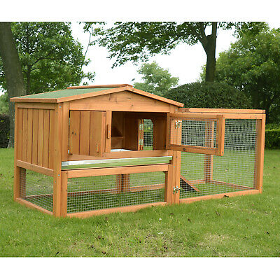 PawHut Large Wooden Chicken Coop Rabbit Hutch Poultry Cage House W/ Run Ramp