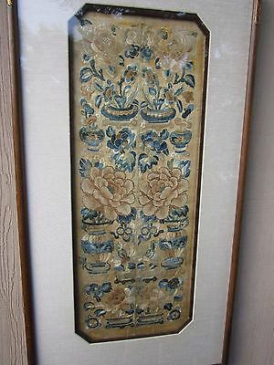 19th Century Chinese Embroidered Panel Beautifully Presented in Wood  &Linin Mat
