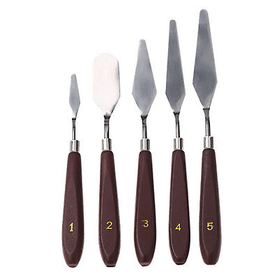 5 Pcs Stainless Steel Oil Painting Knife Palette Spatula Knives Scraper Set Tool