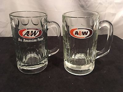 2 different collectible A&W ROOT BEER 6 inch heavy glass soda pop beverage MUGS