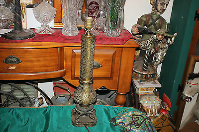Antique Middle Eastern Islamic Chinese Table Lamp-Copper Brass-Symbols Gods-#2