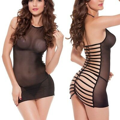 Sexy-Lingerie-Sleepwear-Net-Women's-G-string-Dress-Underwear-Babydoll-Nightwear