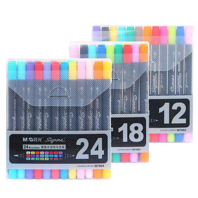 Watercolor Water Based Dual Tip Fine Tip & Brush Marker Pen Graphic Drawing Set