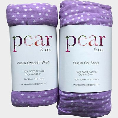 Pear & Co. Designs Lilac Dream Organic Pack – Fitted Cot Sheet & Swaddle Wrap