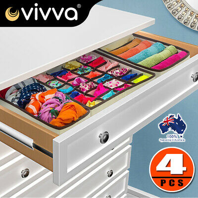 Set of 4 Foldable Drawer Dividers Storage BoxesCloset Organizers Bra Underwear