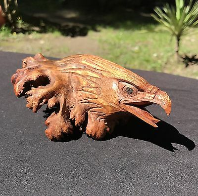 California Redwood Intricately Carved American Bald Eagle Head - Humboldt County