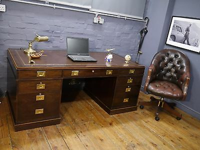 Large Campaign Pedestal Writing Desk New Brown Leather Top & Directors Chair