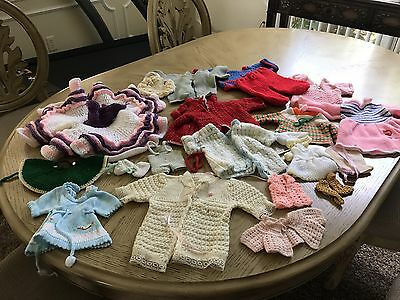 VINTAGE Lot Of Knit Doll Clothes-All Sizes