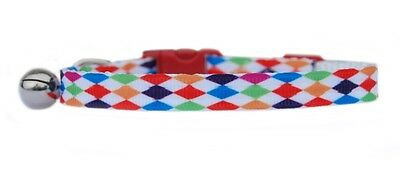 "Red pink green blue ""HARLEQUIN      ""  safety kitten cat collar  3 sizes"