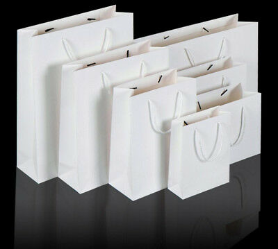 50pcs  White Kraft Paper Bag Gift Carry Shopping Wrap with Handle BULK
