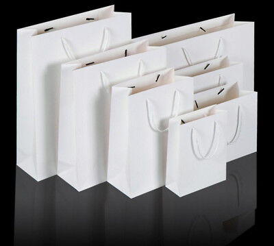50pcs White Kraft Paper Carry Bags Shopping Gift Bag with Cloth Handle Bulk