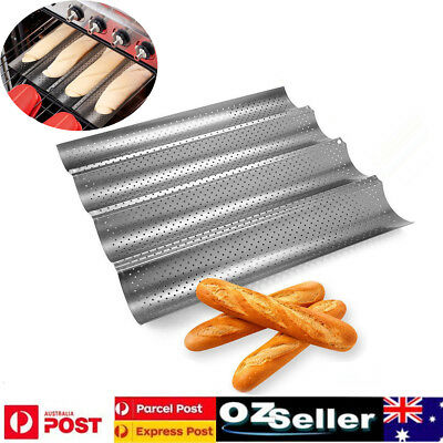 3/4 Slot Non Stick French Bread Baguette Pan Tin Alloy Tray Bakeware Mold Mould