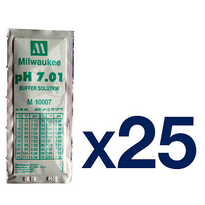 25pk Milwaukee pH Meter Calibration Buffer Sachet 7.01pH