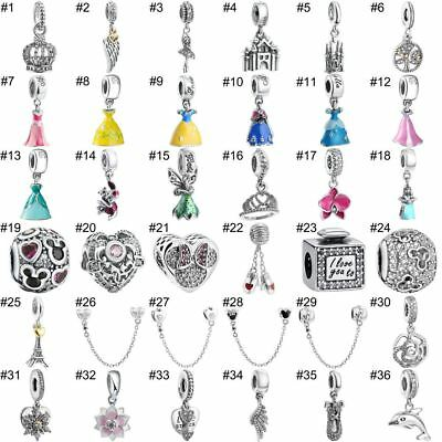 925 Sterling Silver Fairytale Dress Pendant Charms European Bead Fit Bracelets