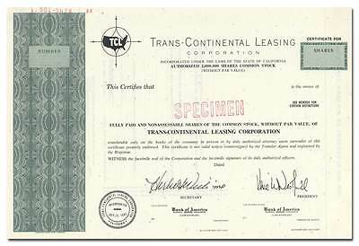 Trans-Continental Leasing Corporation Stock Certificate (LA Freight and Storage)