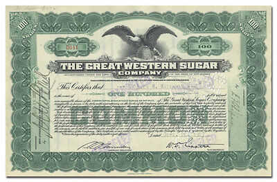 Great Western Sugar Company Stock Certificate
