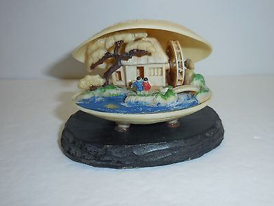 Vintage Japan Celluloid Miniature Scene Dragon Clam Shell Netsuke Style