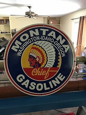 "Montana Gasoline Sign 36"" Vintage Porcelain Look Advertising Gas Oil Auto Nice!"