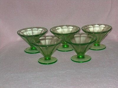 5 Green Federal Depression Glass Sherbet Dessert Glasses