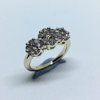 Classic DIAMOND CLUSTER Ring (21 Diamonds - TDW 1ct) 9k Yellow Gold - Size L