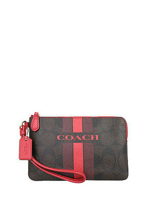 NWT Coach Varsity Stripe Corner Zip Wristlet in Brown Ture Red F 66052 $75