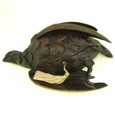 Large Antique Black Forest Carved Wood Hunting Game Bird Figural Jewelry Box