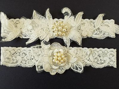 Wedding garter, Bridal Garter Set - OFF WHITE LACE GARTER SET