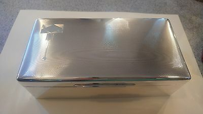 Large Art Deco Solid Silver Cigarette Cigar Trinket  Box Humidor WALKER & HALL