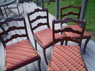 Antique/vintage mahogany dining chairs, four, pretty good condition, 1930, 1940