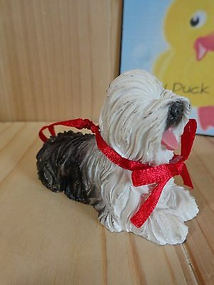 "Old English SHEEPDOG ORNAMENT Figurine 3"" Resin black White Reed Loop"