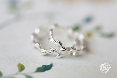 Abalone Olive Branch Tree leaf .925 Sterling Silver Ring