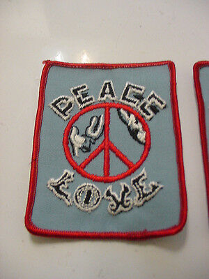 """Lot Of 3 Vintage Peace Sign Love Patch Embroidered 70's -Iron On Patch- 4""""x3"""""""
