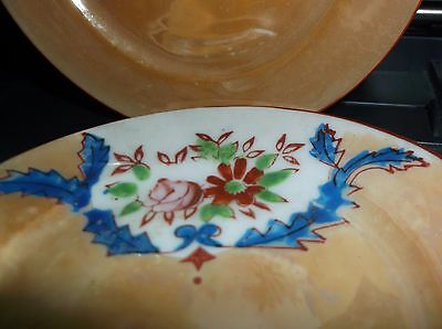 Vintage Marigold lustre ware child's tea time PLATES made in Japan HP red mark