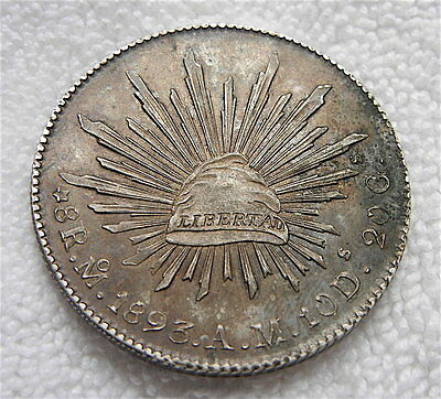 1893 Mexico 8 Reales Silver Coin Nice Condition