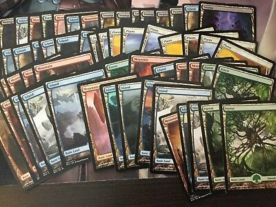 Mtg, 60x Full-Art Basic Lands. Zendikar, Amonkhet, BFZ Basic Land Bundle.