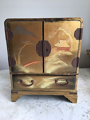 Antique Japanese Gold Enamelware Lacquer Box With Drawers