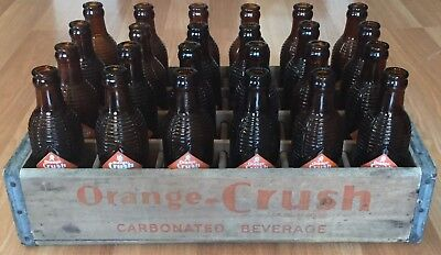 OLD VTG ORANGE CRUSH SODA BOTTLE CASE LOT 1940s UTICA NY CRATE 7 OZ. AMBER GLASS