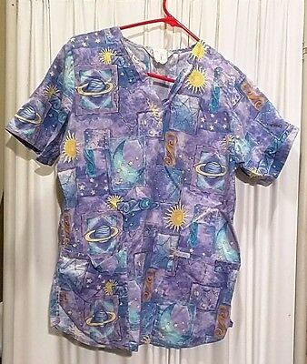 Women's Patterned Scrub top small  previously worn VG condition planets