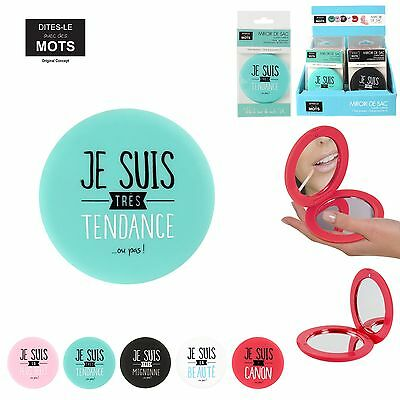 Double Miroir De Poche Sac A Main Compact Maquillage Retouche Message Fun