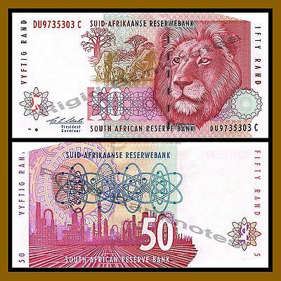 South Africa 50 Rand, 1992 P-125 Lion Portrait Unc