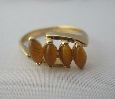 Vintage 18kt GOLD PLATED SARAH COVENTRY TIGER'S EYE RING Sz 8 Signed Four Stone
